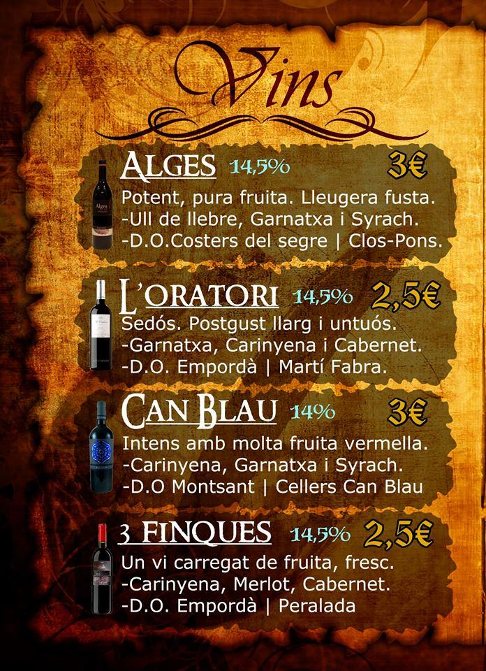 carta de vins i caves catalans artesans